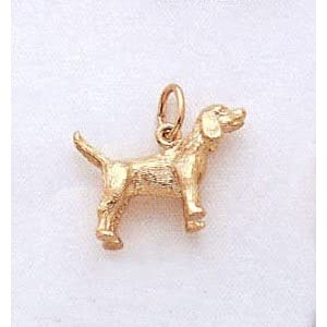 3 Dimensional Weimaraner Dog Charm In 14kt Gold