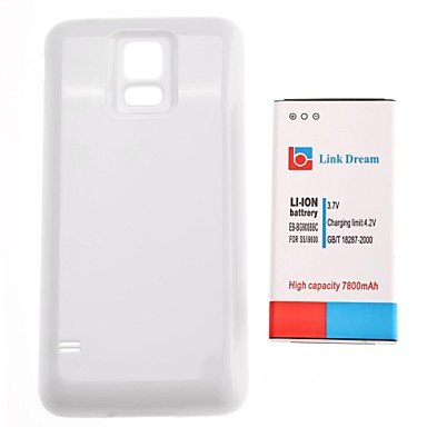 Yyt- Link Dream 7800Mah Thickened Cell Phone Battery + Glossy White Back Cover For Samsung S5 I9600 (Eb-Bg900Bbc)