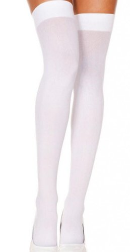 AM Landen®White Ladies' Thigh High/Over Knee High Solid Opaque Socks
