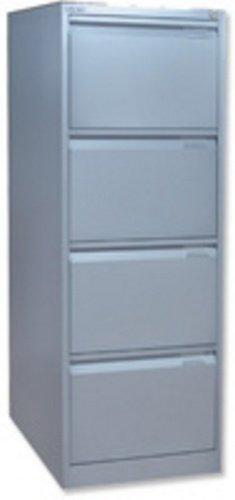 Bisley 4 Drawer Filing Cabinet Locking Grey Flush BS4E