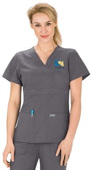 Scrubs - Greys Anatomy by Barco Uniforms Junior Fit #4153 3 Pocket Mock Wrap Scrub Top Nickel, Large
