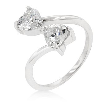 925 Sterling Silver Anniversary Ring with 2 Heart Cut Clear CZ
