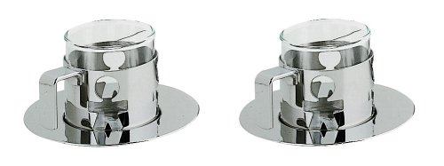 A di Alessi Girotondo Mocha Cups and Saucers, Set of 2, (AKK20 SET)