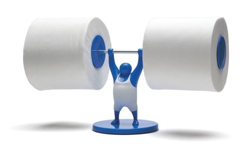 Mr T Designed Strong Man Weightlifter Bathroom Toilet Paper Tissue Roll Holder -Blue by MONKEY BUSINESS