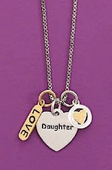 Rhodium Plated Sterling Silver Box Chain Necklace, 16 inch, 1/2 inch Daughter/Heart/Love Charms