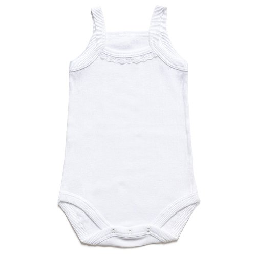 """Kid U Not"" Exclusive Fine Baby Rib White Camisole Onesie. (0-3 Months)"