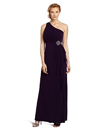 Eliza J Women's One Shoulder Gown With Beaded Patch At Waist, Egg Plant, 14