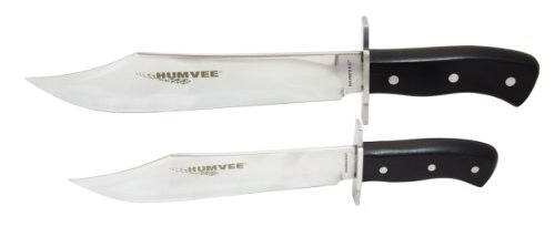 Humvee Hmv-Bc-03-Bk Campco Bowie Knife Set With Mirror Polished Stainless Steel Blades And Black Pakawood Handles
