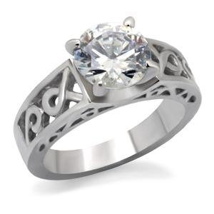 ENGAGEMENT RING - Stainless Steel Round Cut CZ Solitaire Celtic Design Engagement Ring