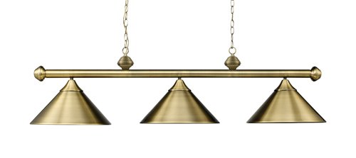 B0018KYSHW Landmark 168-TB Casual Traditions 3-Light Billiard Light, 15-Inch, Antique Brass with Metal Shades