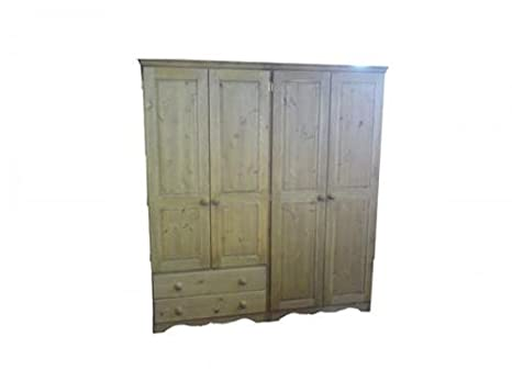 Wye Pine Farmhouse Quad Wardrobe with 2 Drawers - Finish: Wax - Stain: Waterbased