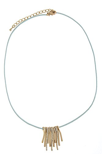 Trendy Fashion Jewelry Simple Metal Leather Necklace By Fashion Destination | (Baby Blue) front-1065851
