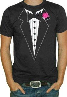 Black Tuxedo with Pink Flower Tuxedo Shirt