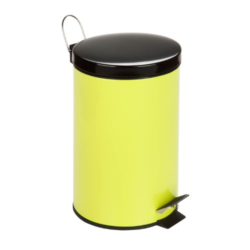 Honey-Can-Do TRS-03554 Round Steel Step Trash Can with Liner, 12-Liter/3-Gallon, Lime Green