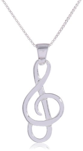 "Sterling Silver Musical Note Pendant Necklace, 18"": Jewelry"