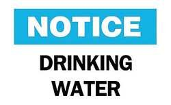 Brady B-555 Aluminum Rectangle White Water Sanitation Sign - 10 in Width x 7 in Height - TEXT: NOTICE DRINKING WATER - 41348 [PRICE is per EACH] brady b 401 polystyrene rectangle white personal hygiene sign 14 in width x 10 in height text this is your wash room please help keep it clean 22856 [price is per each]