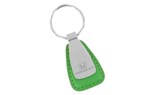 Honda Insight Blue Leather Tear Drop Shaped Key Chain With Satin Metal Area front-971275
