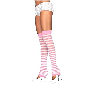 Leg Avenue Stripe Leg Warmer, White/Light Blue