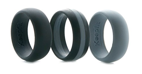 3 Silicone Wedding Ring Silicone Wedding Band for Men Crossfit Climbing and Outdoors (Grey Stipe, 10)