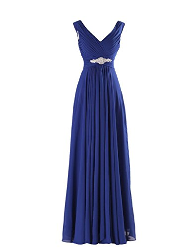 Yougao Women's V Neck A-Line Chiffon Long Floor Length Evening Dress Gown US 10