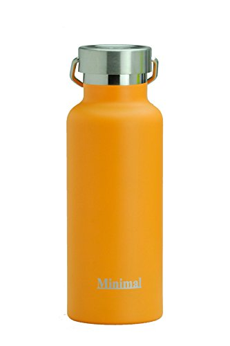 Minimal Stainless Steel Double Wall Insulated Water Flask Bottle - 17oz Orange - 18/8 Stainless Steel Double Wall Vacuum Insulated with Copper Coating. All Metal Construction & BPA Free (Orange Juice Flask compare prices)