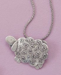 Oxidized Sterling Silver Sheep Pin/Pendant ONLY, 3/4 inch