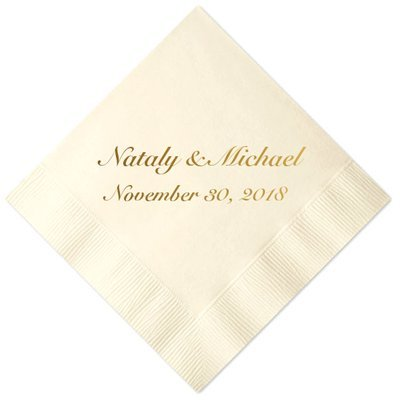 Personalized Ivory Wedding Cocktail Napkins, set of 100