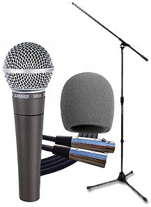 Shure Sm58 Mic Bundle- Microphone Package With Windscreen, Cable And Stand