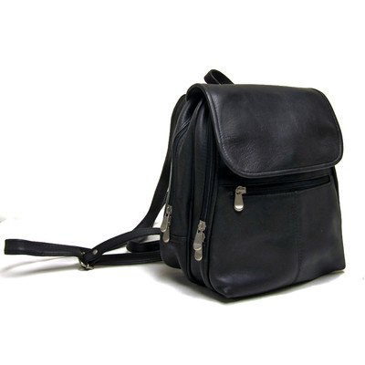 Le Donne Leather Everything Womans Backpack/Purse (Black)