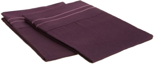 Clara Clark ® Supreme 1500 Collection Pillowcase Set - King Size, Purple Eggplant