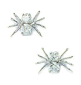 14k White Gold CZ Medium Spider Fancy Post Earrings - Measures 9x10mm