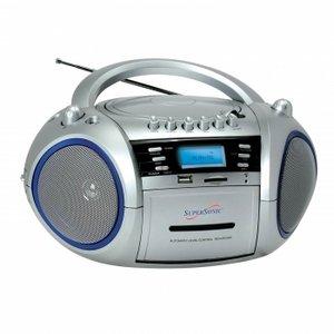 SuperSonic SC-183UM Portable MP3/CD Cassette Recorder with AM/FM Radio
