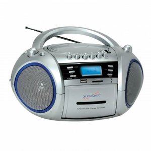 SuperSonic SC-183UM Portable MP3/CD Cassette Recorder with AM/FM Radio