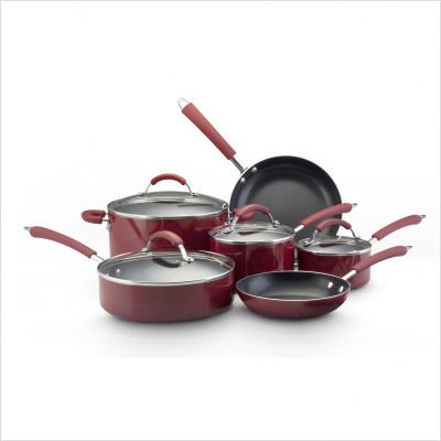 Farberware Millennium Colors 12-Piece Non-Stick Cookware Set, Red