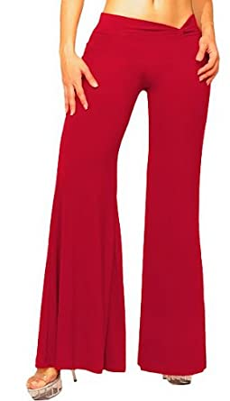 Slinky Palazzo Pants with Chic Twist Waistband from Hot Fash Pants - EXODUS Red