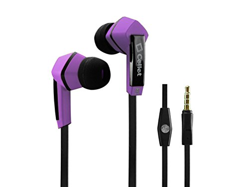 Cellet Square 3.5Mm Flat Wire Stereo Hands-Free Ear Buds - Retail Packaging - Purple/Black