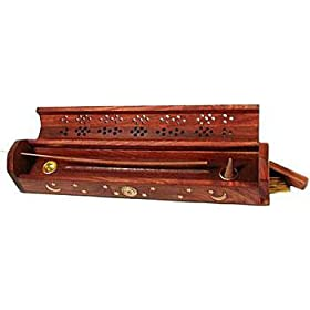 Wooden Coffin Incense Burner - Sun and Moon Inlays - Storage Compartment