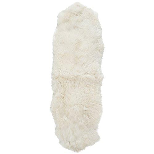 Safavieh Sheep Skin Collection SHS211A Handmade White Sheepskin Area Rug, 2 feet by 4 feet (2' x 4')