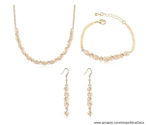 Nicedeco Je-Sw-Tz002-Gold,Swarovski Elements Austrian Crystal Jewelry Sets,Endless Love,Gold Necklace,Bracelet And Earring(3-Piece Set),Elegant Style And Exquisite Craftsmanship
