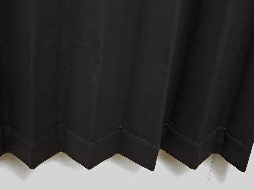 形状記憶加工 遮光カーテン 無地 ブラック 幅100cm×丈135cm 2枚入 全3色 8サイズ