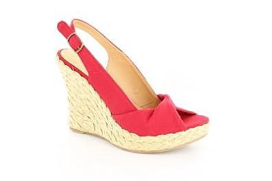 Andres Machado Women's Burgundy LinenSandal WithJuteWedge Heel #AM432 (45)