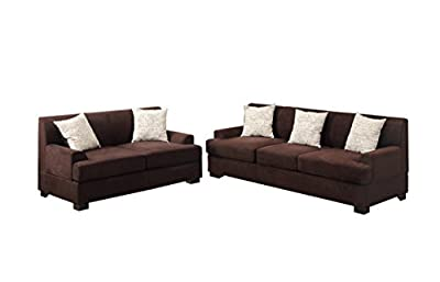 Poundex Bobkona Barrie Microsuede 2 Piece Sofa and Loveseat Set, Chocolate