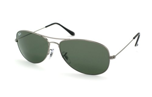 New Ray Ban RB3362 004 Cockpit Gunmetal/Crystal Green Lens 59mm Sunglasses