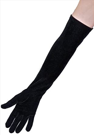 Dents Ladies Black Long Soft Stretch Velvet Evening Dress Gloves, full length