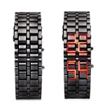 GGI International MensLava Black Stainless Steel Lava RED LED Digital Bracelet Watch