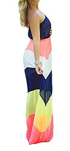 Yonala Women's Strapless Top Color Block Shirring Waist Maxi Long Chiffon Dress, Colorful, Large, Colorful (Colorful Maxi Dress compare prices)