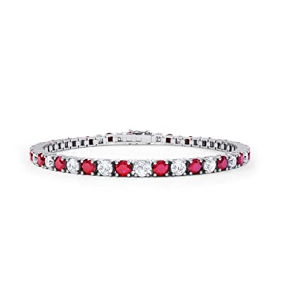 Stardust Ruby and Diamond Silver Tennis Bracelet (WHITE GOLD)