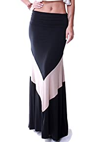 LeggingsQueen Women's High Waisted Modal Spandex Maxi Skirt