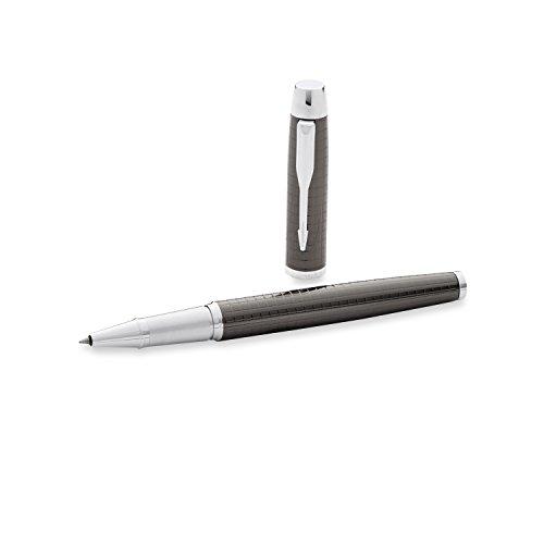 Parker IM Premium - Bolígrafo de tinta gel de punta fina cromado con caja, color metal, con grabado