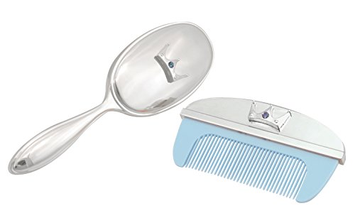 Stephan Baby Royalty Collection Keepsake Silver Plated Brush and Comb Set, Little Prince - 1